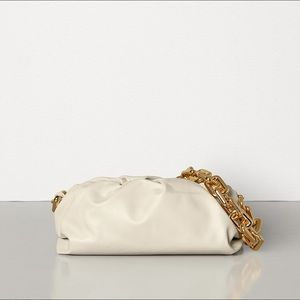 Designer inspired genuine leather chain pouch